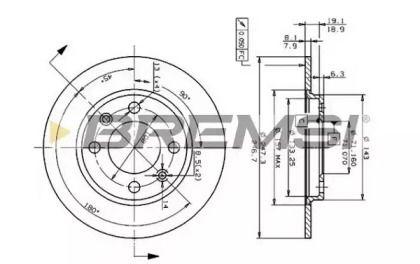 Передний тормозной диск 'BREMSI DBA244S'.