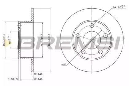 Задний тормозной диск на AUDI 200 'BREMSI DBA265S'.