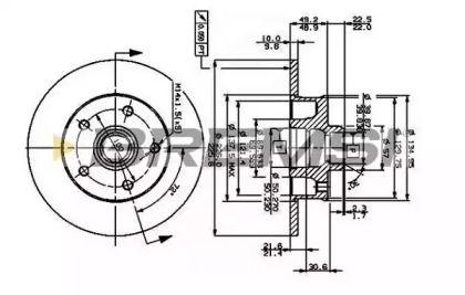 Задний тормозной диск на VOLKSWAGEN CORRADO 'BREMSI DBA266S'.