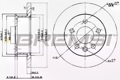 Передний тормозной диск на VOLKSWAGEN TRANSPORTER 'BREMSI DBA426S'.