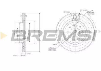 Вентилируемый передний тормозной диск на Фиат Темпра 'BREMSI DBA521V'.