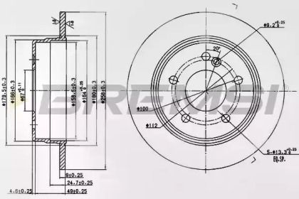 Задний тормозной диск 'BREMSI DBA539S'.
