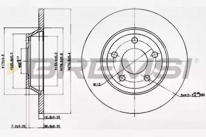 Передний тормозной диск на Ауди A4 'BREMSI DBA759S'.