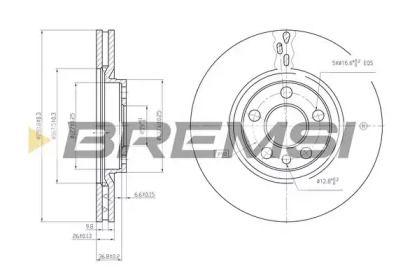 Вентилируемый передний тормозной диск на Пежо 806 'BREMSI DBA760V'.