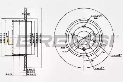 Задний тормозной диск на Сааб 900 'BREMSI DBA811S'.