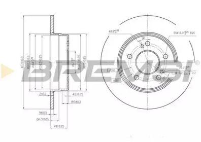 Задний тормозной диск на MERCEDES-BENZ CLC 'BREMSI DBA819S'.