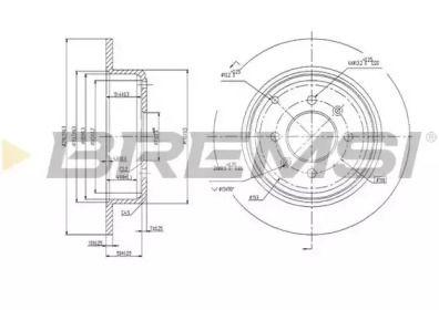 Задний тормозной диск на Пежо 406 'BREMSI DBA869S'.