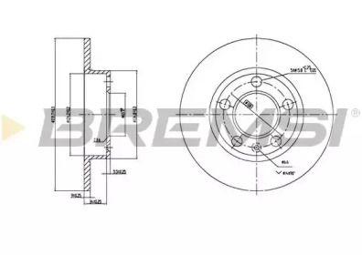 Задний тормозной диск на Сеат Леон 'BREMSI DBA929S'.