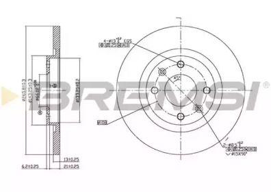 Передний тормозной диск на Ситроен С Элизе 'BREMSI DBB000S'.