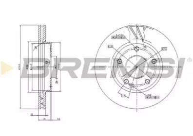 Вентилируемый передний тормозной диск на MERCEDES-BENZ A-CLASS 'BREMSI DBB035V'.