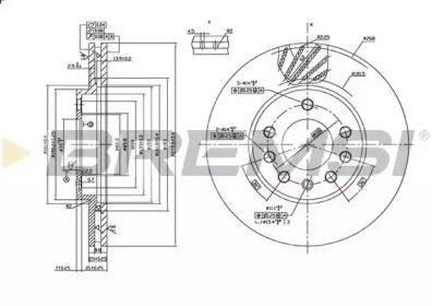 Вентилируемый передний тормозной диск на OPEL ZAFIRA 'BREMSI DBB042V'.