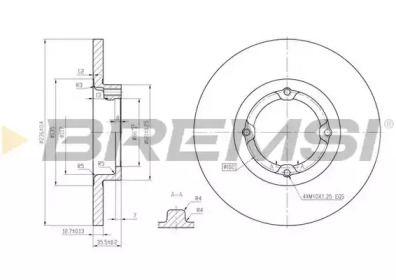 Передний тормозной диск на Дэу Матиз 'BREMSI DBB076S'.