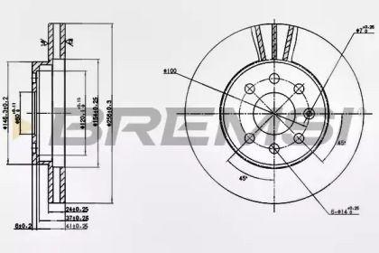 Вентилируемый передний тормозной диск на Дэу Нубира 'BREMSI DBB097V'.
