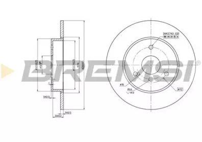 Передний тормозной диск на SMART FORTWO 'BREMSI DBB111S'.