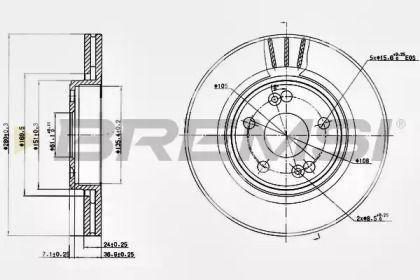 Вентилируемый передний тормозной диск на RENAULT ESPACE 'BREMSI DBB123V'.