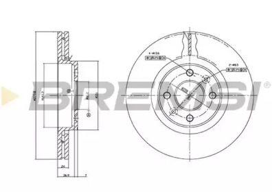 Вентилируемый передний тормозной диск на DACIA DOKKER 'BREMSI DBB124V'.
