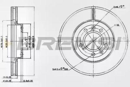 Вентилируемый передний тормозной диск на Пежо 407 'BREMSI DBB132V'.