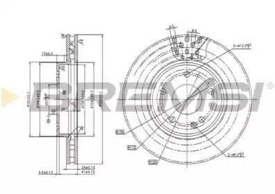 Вентилируемый передний тормозной диск на MERCEDES-BENZ SLK 'BREMSI DBB135V'.
