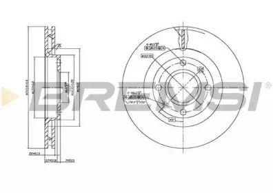 Вентилируемый передний тормозной диск на Пежо 301 'BREMSI DBB140V'.