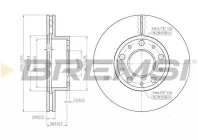 Вентилируемый передний тормозной диск на FIAT DUCATO 'BREMSI DBB170V'.