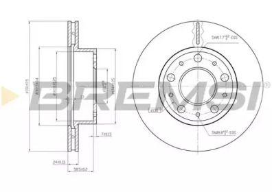 Вентилируемый передний тормозной диск на CITROEN JUMPER 'BREMSI DBB171V'.