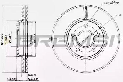 Вентилируемый передний тормозной диск на FORD TOURNEO CONNECT 'BREMSI DBB172V'.