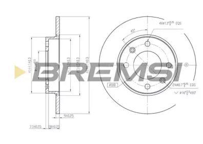 Задний тормозной диск на Пежо 307 'BREMSI DBB178S'.