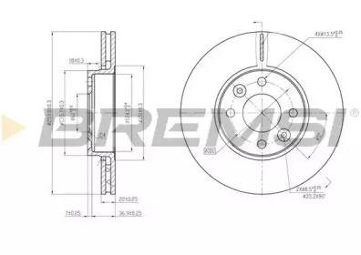 Вентилируемый передний тормозной диск на NISSAN NOTE 'BREMSI DBB201V'.