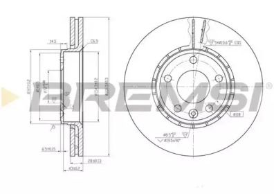Вентилируемый передний тормозной диск на RENAULT TRAFIC 'BREMSI DBB204V'.