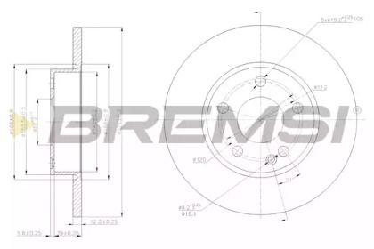 Передний тормозной диск на Мерседес А класс 'BREMSI DBB219S'.
