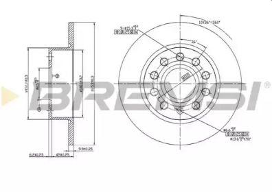 Задний тормозной диск на SKODA YETI 'BREMSI DBB224S'.