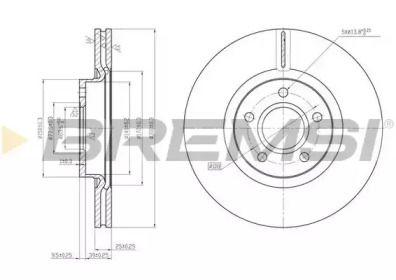 Вентилируемый передний тормозной диск на Форд Куга 'BREMSI DBB225V'.