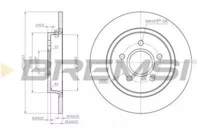 Задний тормозной диск на VOLVO S40 'BREMSI DBB227S'.