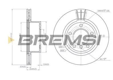 Вентилируемый передний тормозной диск на БМВ 1 'BREMSI DBB229V'.