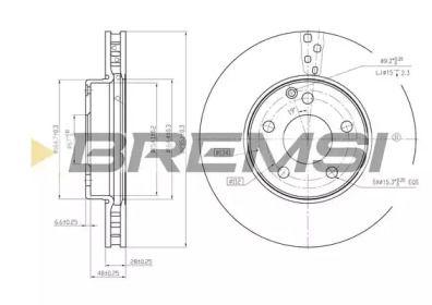 Вентильований передній гальмівний диск на Мерседес W212 BREMSI DBB252V.