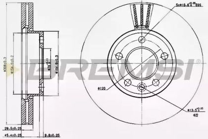 Вентилируемый передний тормозной диск на VOLKSWAGEN TOUAREG 'BREMSI DBB253V'.