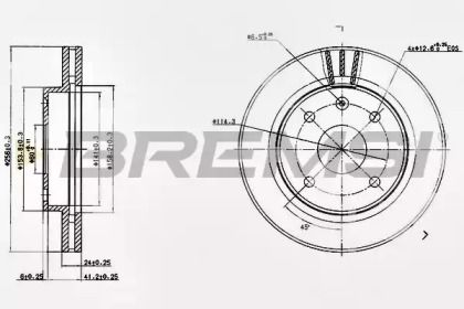 Вентилируемый передний тормозной диск на CHEVROLET EVANDA 'BREMSI DBB257V'.