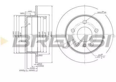 Задний тормозной диск на MERCEDES-BENZ B-CLASS 'BREMSI DBB258S'.