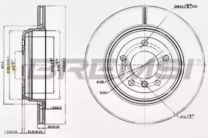 Вентилируемый задний тормозной диск на БМВ 6 'BREMSI DBB260V'.