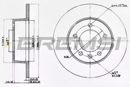 Задний тормозной диск на Опель Мовано 'BREMSI DBB272S'.