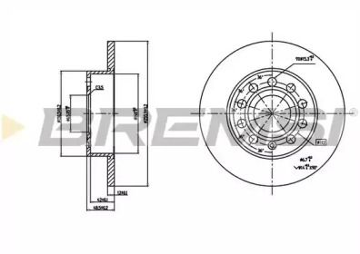Задний тормозной диск на Сеат Альтеа 'BREMSI DBB276S'.