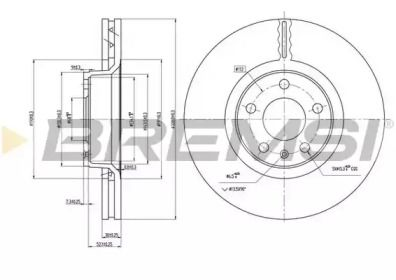 Вентилируемый передний тормозной диск на AUDI A6 ALLROAD 'BREMSI DBB277V'.