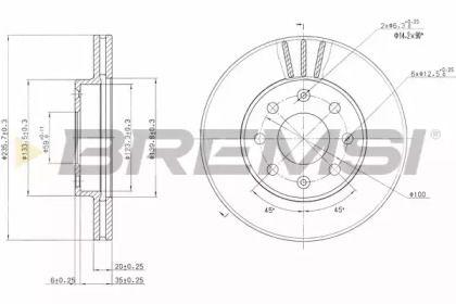 Вентилируемый передний тормозной диск на Додж Неон 'BREMSI DBB279V'.