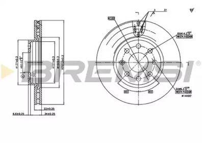 Вентилируемый передний тормозной диск на Фиат Гранде пунто 'BREMSI DBB304V'.