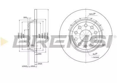 Задний тормозной диск на AUDI Q3 'BREMSI DBB306S'.