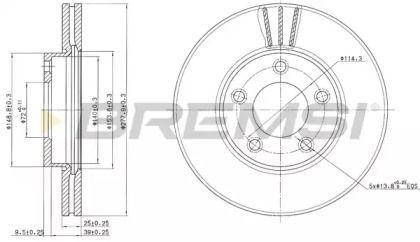 Вентилируемый передний тормозной диск на Мазда 5 'BREMSI DBB311V'.