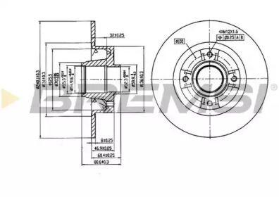 Задний тормозной диск на Ниссан Ноут 'BREMSI DBB369S'.