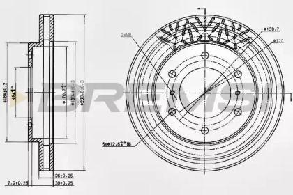 Вентилируемый передний тормозной диск на Митсубиси Паджеро 'BREMSI DBB384V'.