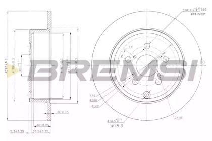 Задний тормозной диск на TOYOTA AVENSIS 'BREMSI DBB406S'.