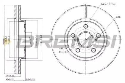 Вентилируемый передний тормозной диск на LEXUS ES 'BREMSI DBB446V'.